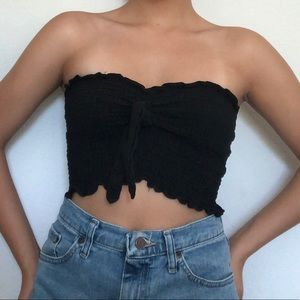 Black ruched tube top with front tie